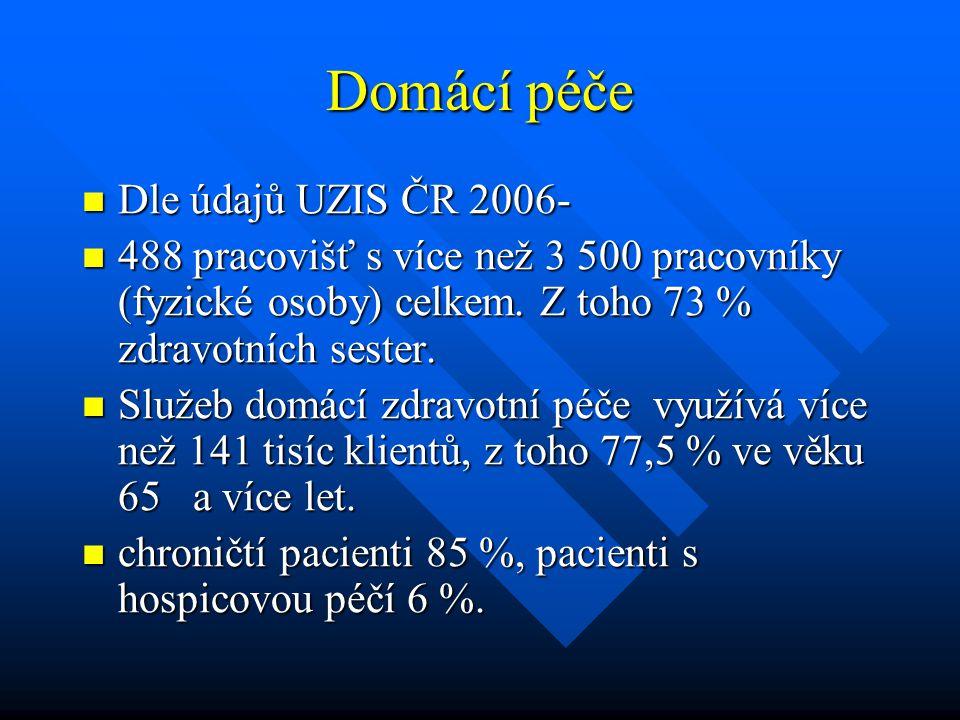 Domácí péče  Dle údajů UZIS ČR 2006-  488 pracovišť s více než 3 500 pracovníky (fyzické osoby) celkem. Z toho 73 % zdravotních sester.  Služeb dom