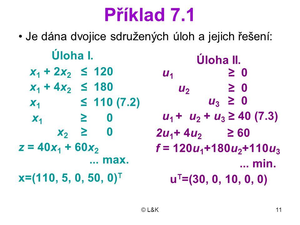 © L&K11 Příklad 7.1 Úloha I.