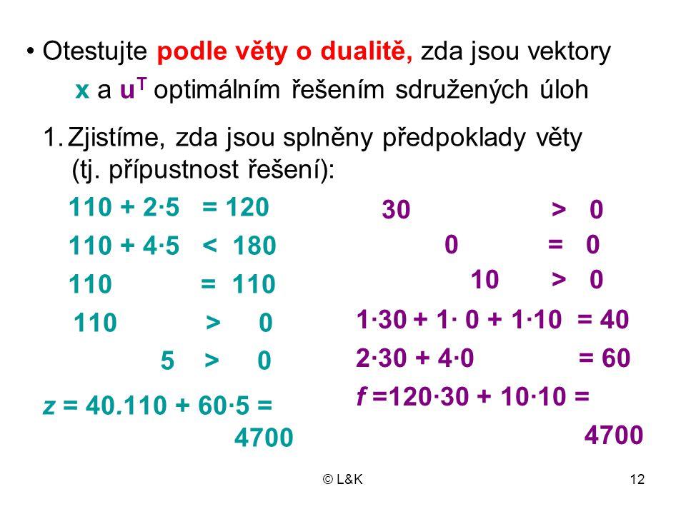 © L&K12 110 + 2·5 = 120 110 + 4·5 < 180 110 = 110 110 > 0 5 > 0 z = 40.110 + 60·5 = 4700 30 > 0 0 = 0 10 > 0 1·30 + 1· 0 + 1·10 = 40 2·30 + 4·0 = 60 f =120·30 + 10·10 = 4700 1.Zjistíme, zda jsou splněny předpoklady věty (tj.