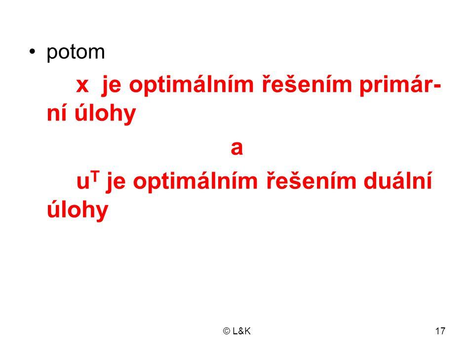 © L&K17 •potom x je optimálním řešením primár- ní úlohy a u T je optimálním řešením duální úlohy