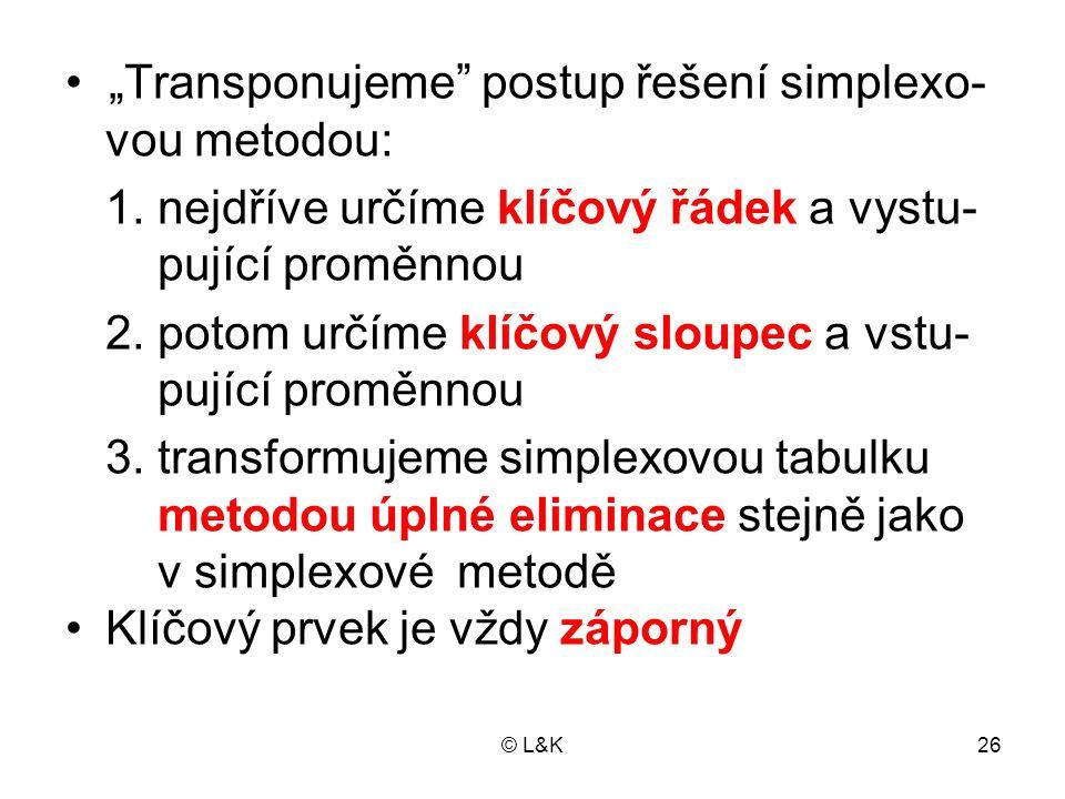 """© L&K26 • """"Transponujeme postup řešení simplexo- vou metodou: 1."""
