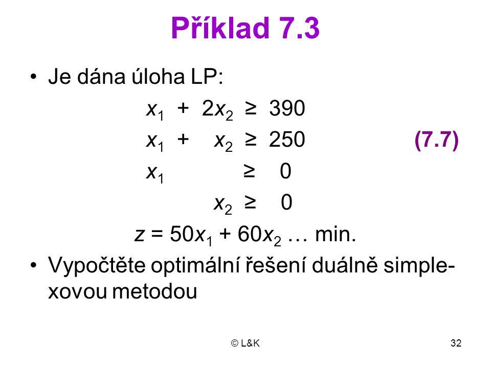 © L&K32 Příklad 7.3 •Je dána úloha LP: x 1 + 2x 2 ≥ 390 x 1 + x 2 ≥ 250 (7.7) x 1 ≥ 0 x 2 ≥ 0 z = 50x 1 + 60x 2 … min.