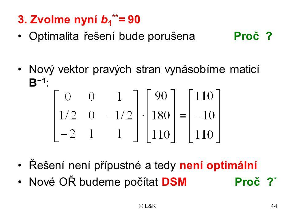 © L&K44 3.Zvolme nyní b 1 ** = 90 •Optimalita řešení bude porušena Proč .