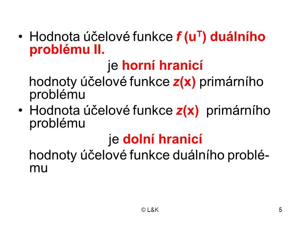 © L&K6 Důkaz •Vlastní omezení úlohy I.násobíme zleva vektorem u T : I.