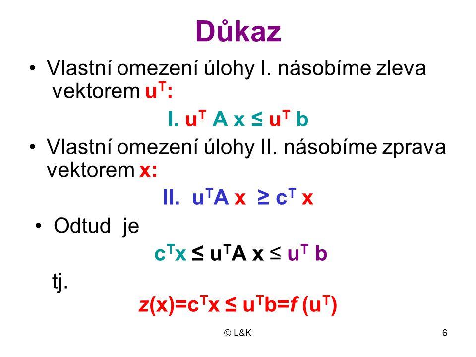 © L&K7 •Důsledek 1: Je  li x = (x 1, x 2, …, x n ) T libovolné přípustné řešení primární úlo- hy a u T = (u 1, u 2, …, u m ) libovolné přípustné řešení duální úlo- hy a platí  li z (x) = f (u T ), je x OŘ primární úlohy I.