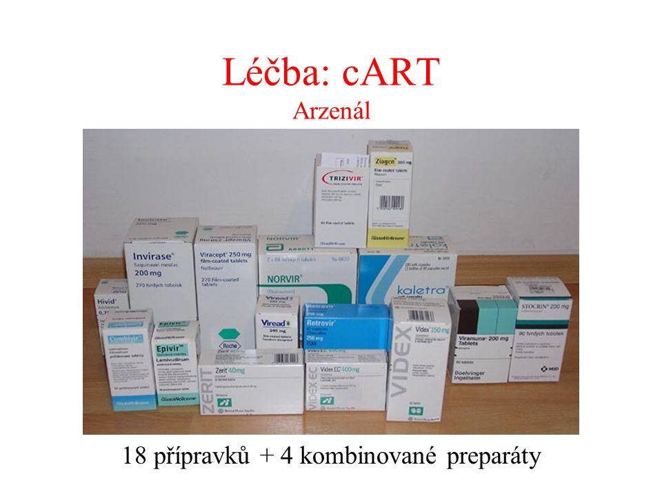 Léčba: cART Arzenál 18 přípravků + 4 kombinované preparáty