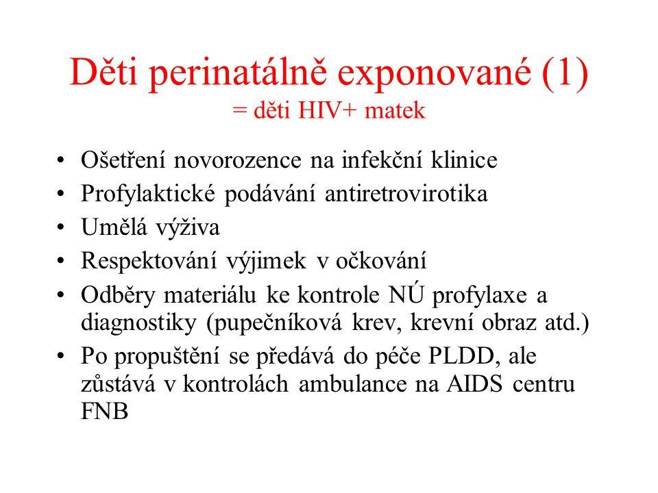 Děti perinatálně exponované (1) = děti HIV+ matek •Ošetření novorozence na infekční klinice •Profylaktické podávání antiretrovirotika •Umělá výživa •R