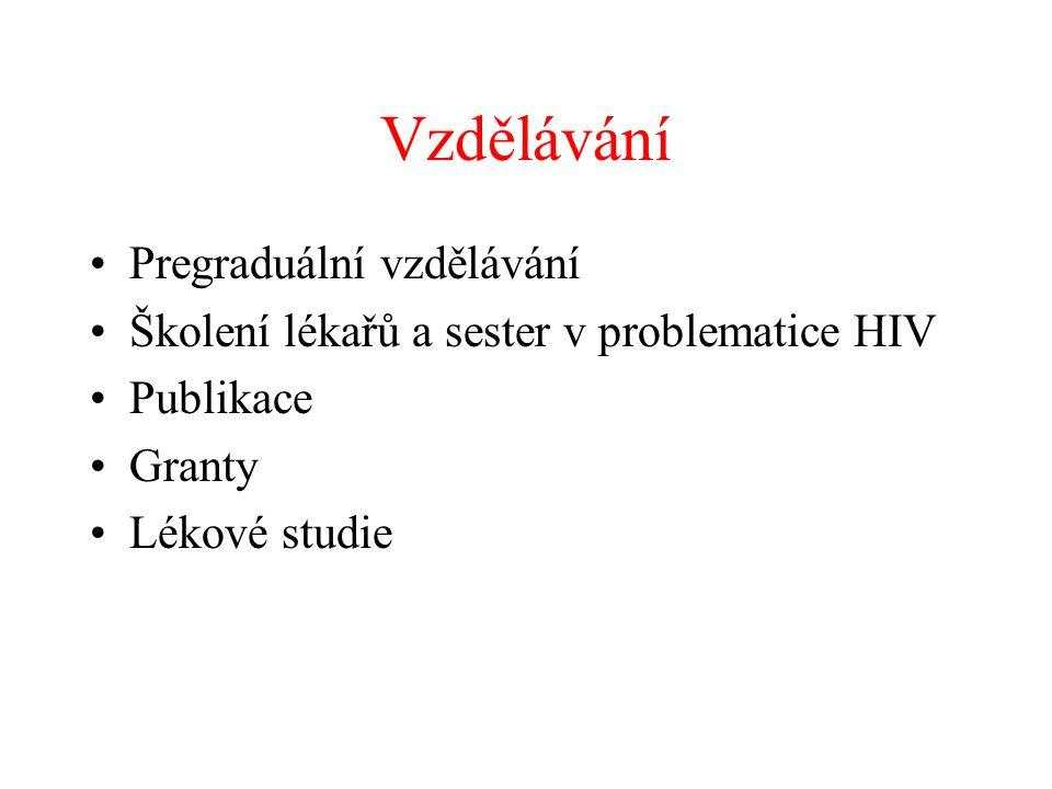 Vzdělávání •Pregraduální vzdělávání •Školení lékařů a sester v problematice HIV •Publikace •Granty •Lékové studie