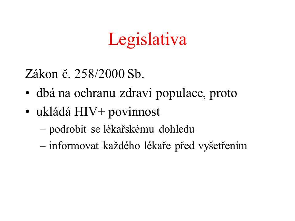 Legislativa Zákon č. 258/2000 Sb. •dbá na ochranu zdraví populace, proto •ukládá HIV+ povinnost –podrobit se lékařskému dohledu –informovat každého lé