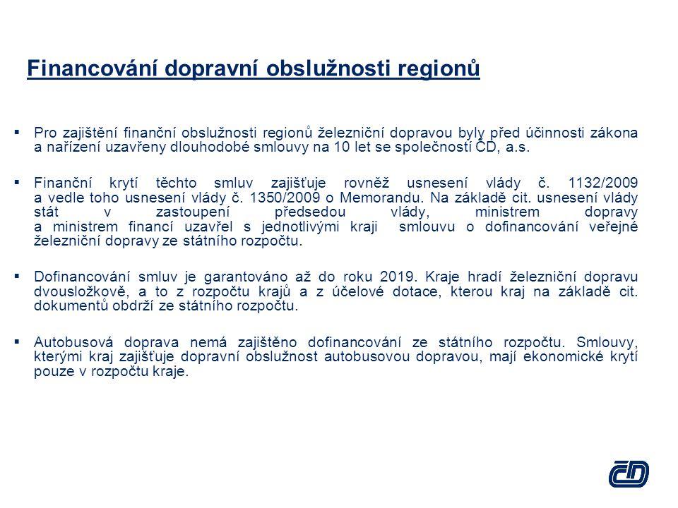 Financování dopravní obslužnosti regionů  Pro zajištění finanční obslužnosti regionů železniční dopravou byly před účinnosti zákona a nařízení uzavřeny dlouhodobé smlouvy na 10 let se společností ČD, a.s.
