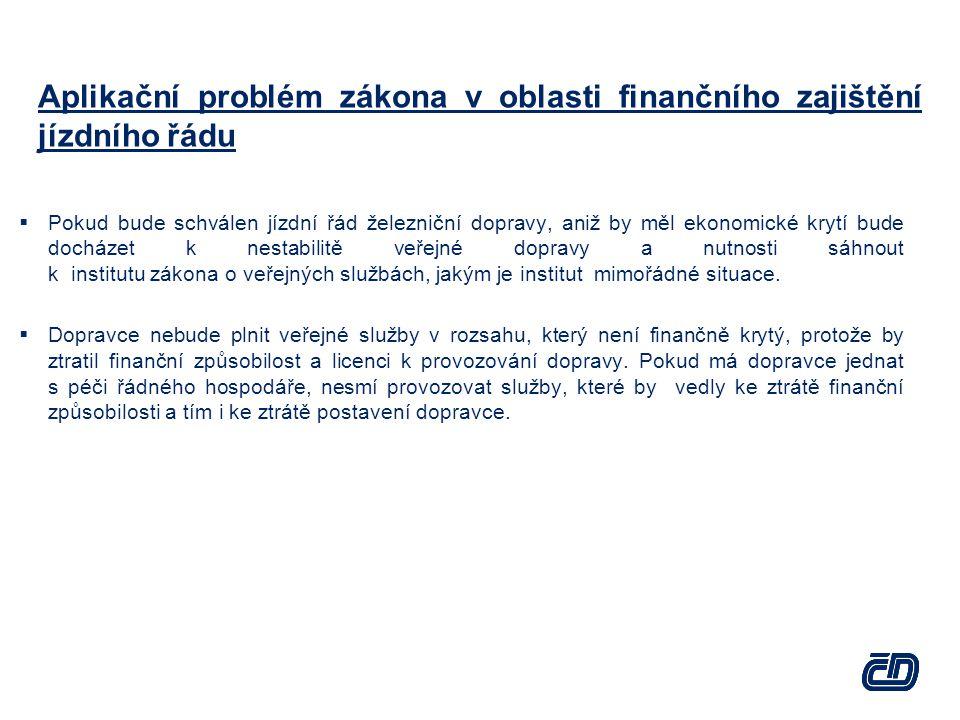 Aplikační problém zákona v oblasti finančního zajištění jízdního řádu  Pokud bude schválen jízdní řád železniční dopravy, aniž by měl ekonomické kryt
