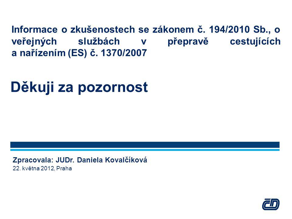 Informace o zkušenostech se zákonem č. 194/2010 Sb., o veřejných službách v přepravě cestujících a nařízením (ES) č. 1370/2007 Děkuji za pozornost Zpr