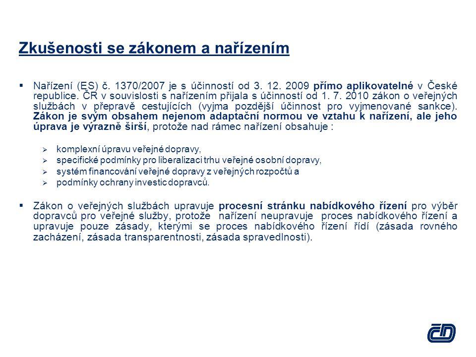  Nařízení (ES) č. 1370/2007 je s účinností od 3. 12. 2009 přímo aplikovatelné v České republice. ČR v souvislosti s nařízením přijala s účinností od