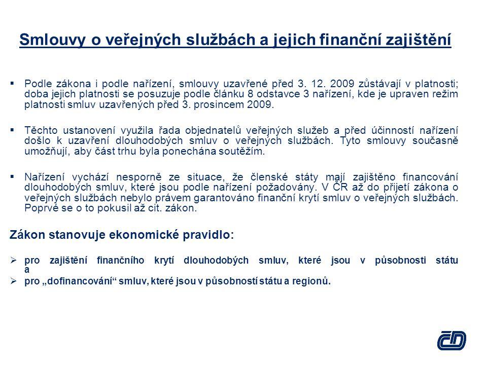 Smlouvy o veřejných službách a jejich finanční zajištění  Podle zákona i podle nařízení, smlouvy uzavřené před 3. 12. 2009 zůstávají v platnosti; dob