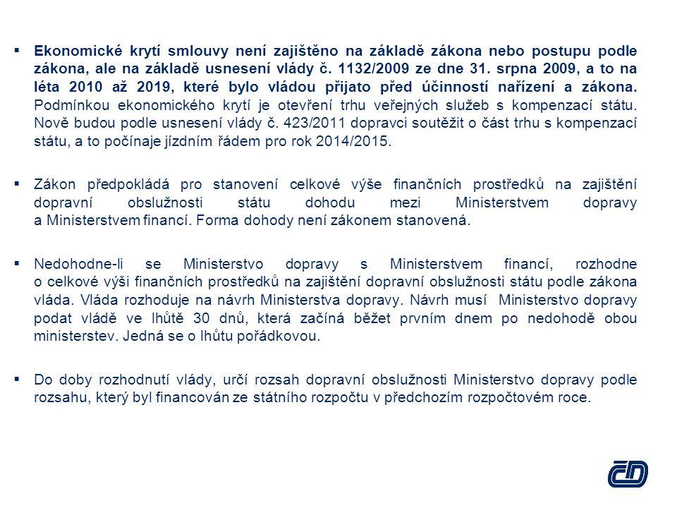  Ekonomické krytí smlouvy není zajištěno na základě zákona nebo postupu podle zákona, ale na základě usnesení vlády č. 1132/2009 ze dne 31. srpna 200