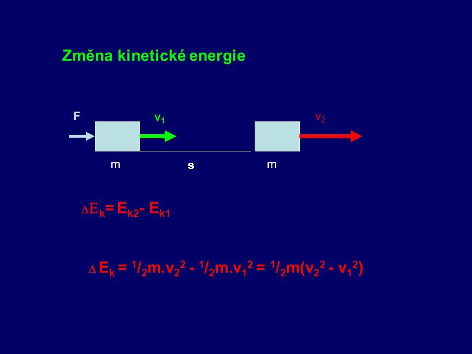1.KINETICKÁ ENERGIE – POHYBOVÁ m v E k = ½ m.v 2 m F s W = E k W = F.s = m.a. 1 / 2 a.t 2 = 1 / 2 m.a 2.t 2