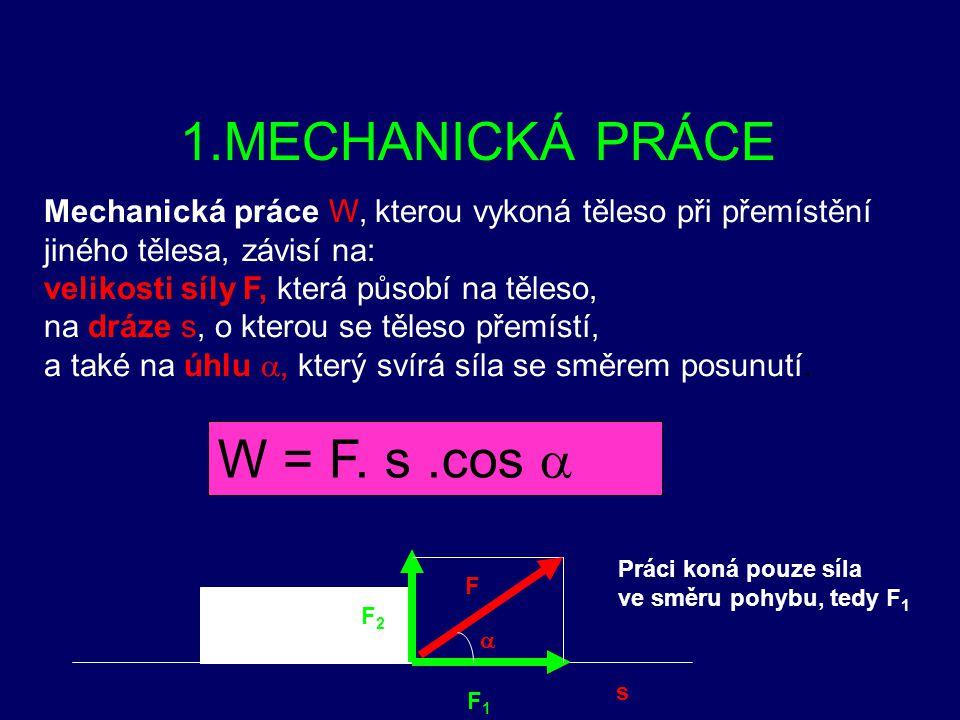 1.MECHANICKÁ PRÁCE 2.MECHANICKÁ ENERGIE 3.VÝKON
