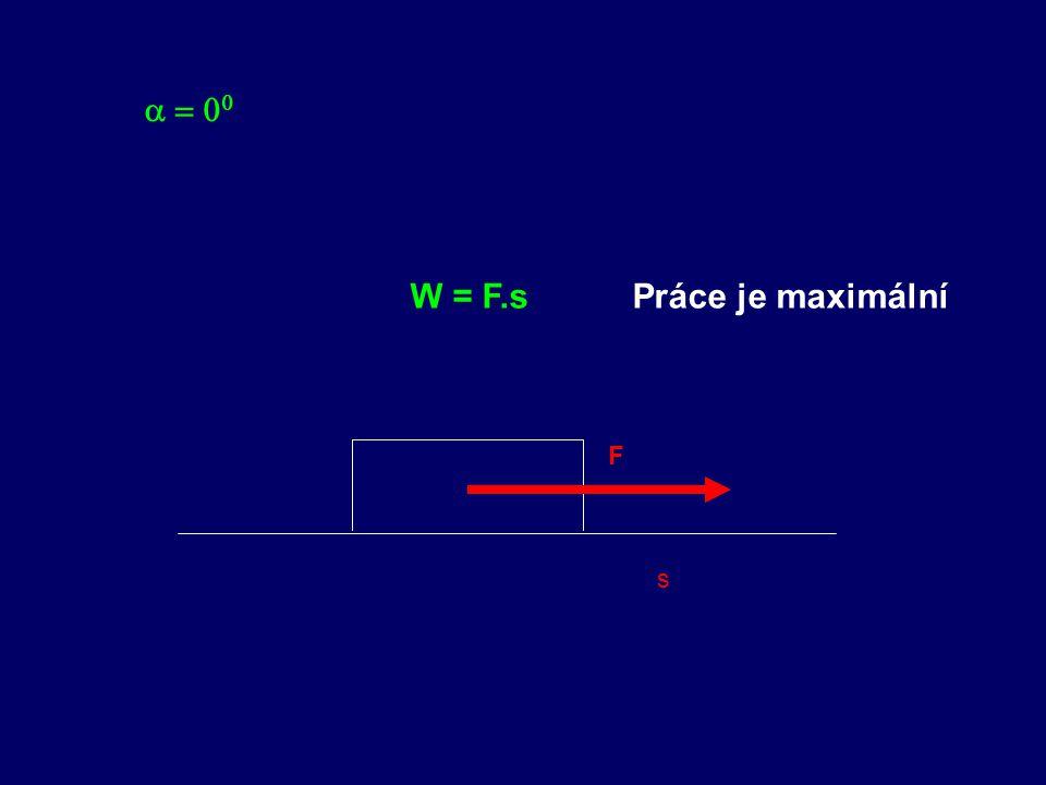 s   F W = F.sPráce je maximální