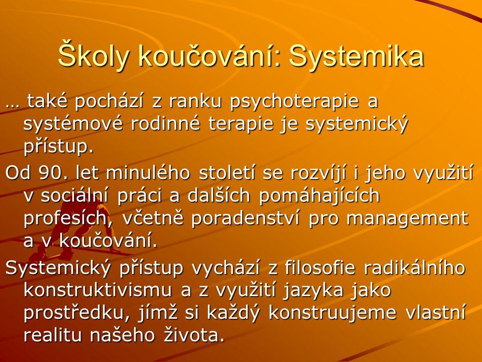 Školy koučování: Systemika … také pochází z ranku psychoterapie a systémové rodinné terapie je systemický přístup.