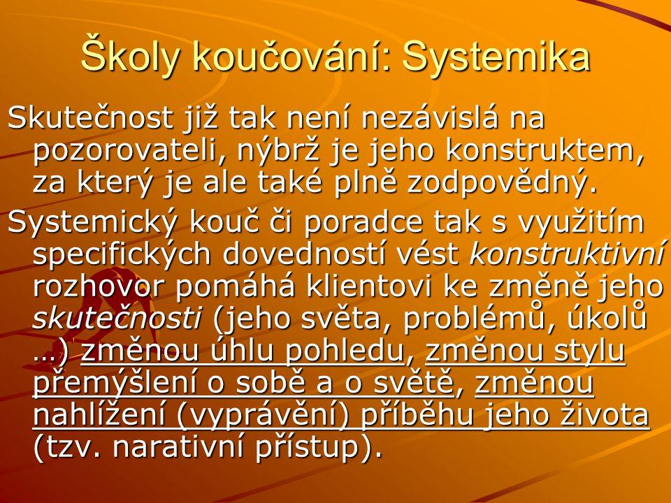 Školy koučování: Systemika Skutečnost již tak není nezávislá na pozorovateli, nýbrž je jeho konstruktem, za který je ale také plně zodpovědný.