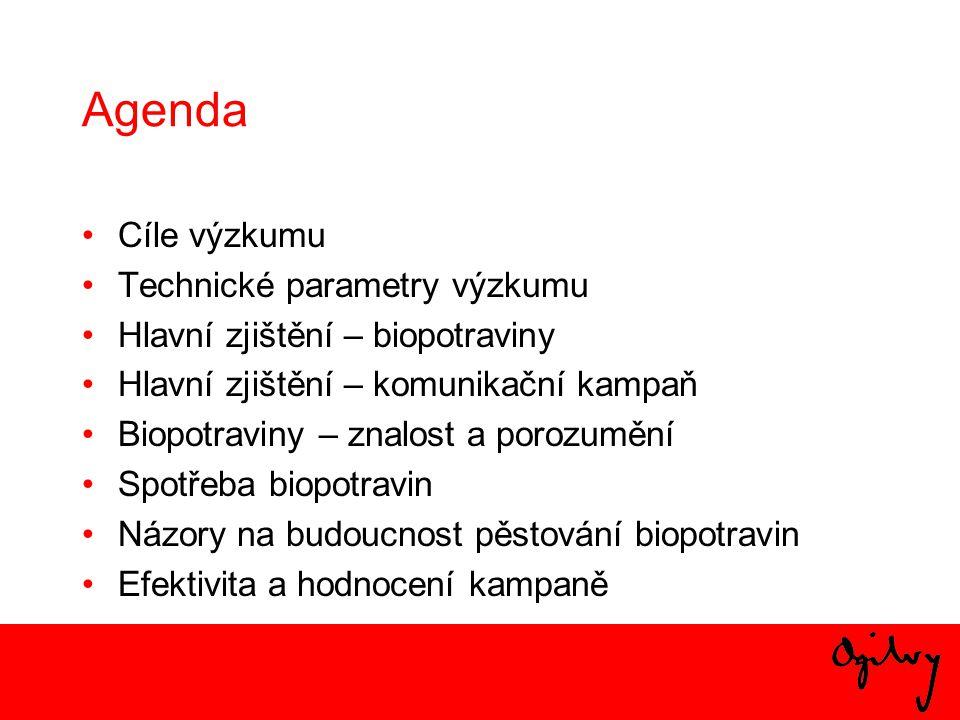 Cíle výzkumu •Ověřit povědomí české veřejnosti o ekologickém zemědělství, biopotravinách, značkách biopotravin.