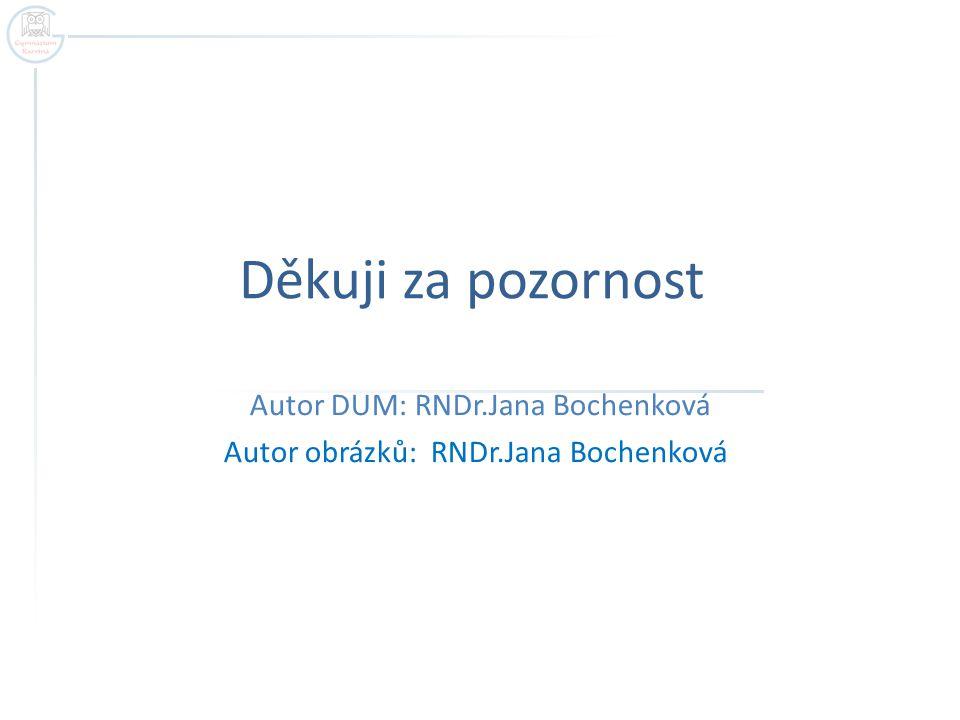 Děkuji za pozornost Autor DUM: RNDr.Jana Bochenková Autor obrázků: RNDr.Jana Bochenková