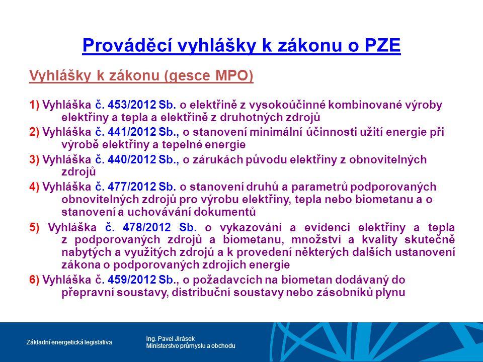 Ing. Pavel Jirásek Ministerstvo průmyslu a obchodu Základní energetická legislativa Prováděcí vyhlášky k zákonu o PZE Vyhlášky k zákonu (gesce MPO) 1)