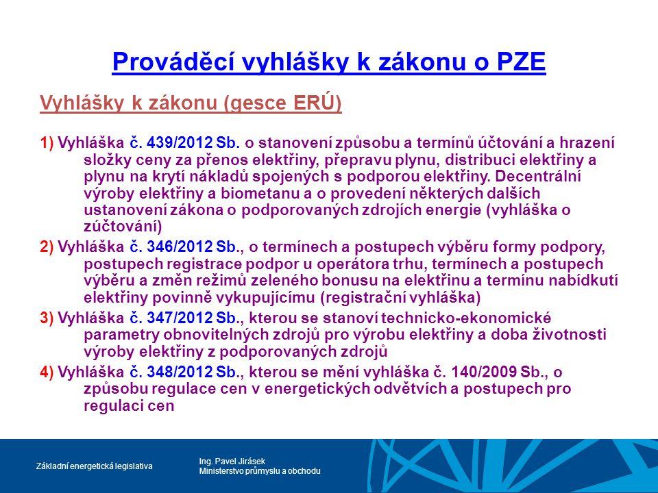 Ing. Pavel Jirásek Ministerstvo průmyslu a obchodu Základní energetická legislativa Prováděcí vyhlášky k zákonu o PZE Vyhlášky k zákonu (gesce ERÚ) 1)