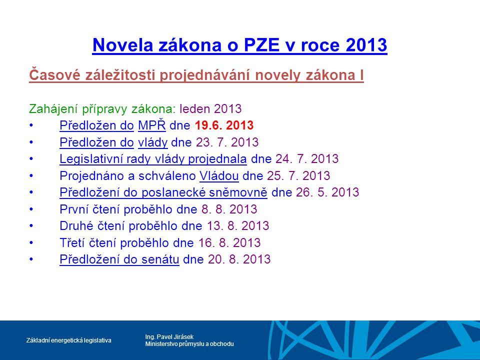Ing. Pavel Jirásek Ministerstvo průmyslu a obchodu Základní energetická legislativa Novela zákona o PZE v roce 2013 Časové záležitosti projednávání no