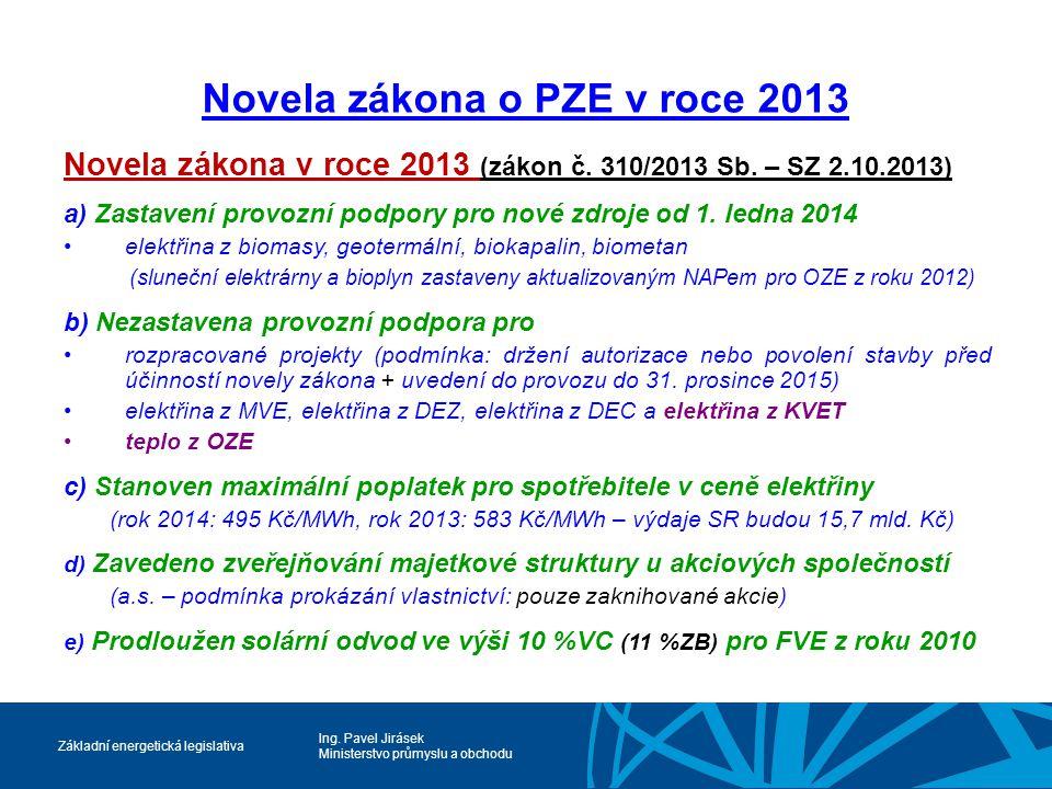 Ing. Pavel Jirásek Ministerstvo průmyslu a obchodu Základní energetická legislativa Novela zákona o PZE v roce 2013 Novela zákona v roce 2013 (zákon č