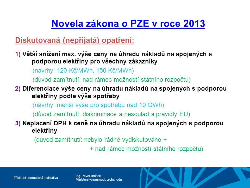 Ing. Pavel Jirásek Ministerstvo průmyslu a obchodu Základní energetická legislativa Novela zákona o PZE v roce 2013 Diskutovaná (nepřijatá) opatření: