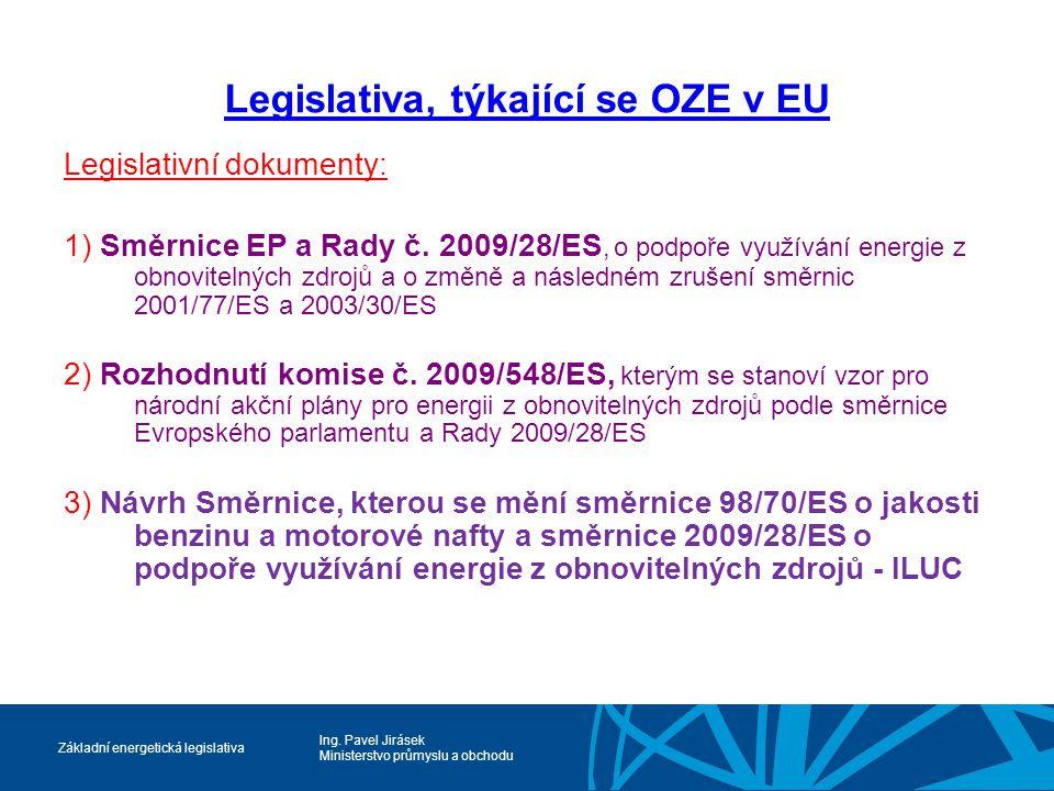 Ing. Pavel Jirásek Ministerstvo průmyslu a obchodu Základní energetická legislativa Legislativa, týkající se OZE v EU Legislativní dokumenty: 1) Směrn