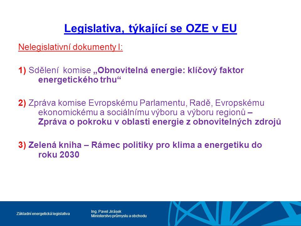 Ing. Pavel Jirásek Ministerstvo průmyslu a obchodu Základní energetická legislativa Legislativa, týkající se OZE v EU Nelegislativní dokumenty I: 1) S