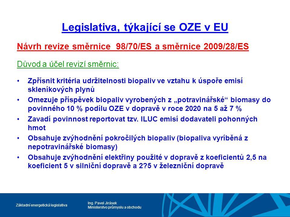 Ing. Pavel Jirásek Ministerstvo průmyslu a obchodu Základní energetická legislativa Legislativa, týkající se OZE v EU Návrh revize směrnice 98/70/ES a