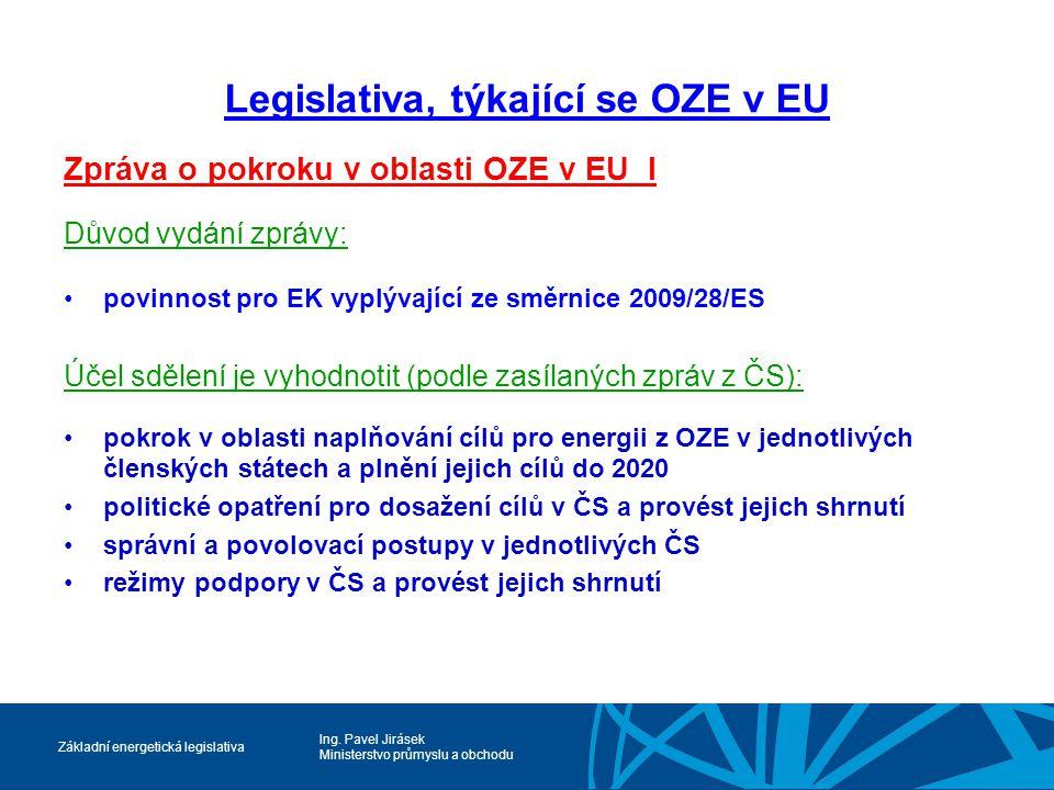 Ing. Pavel Jirásek Ministerstvo průmyslu a obchodu Základní energetická legislativa Legislativa, týkající se OZE v EU Zpráva o pokroku v oblasti OZE v