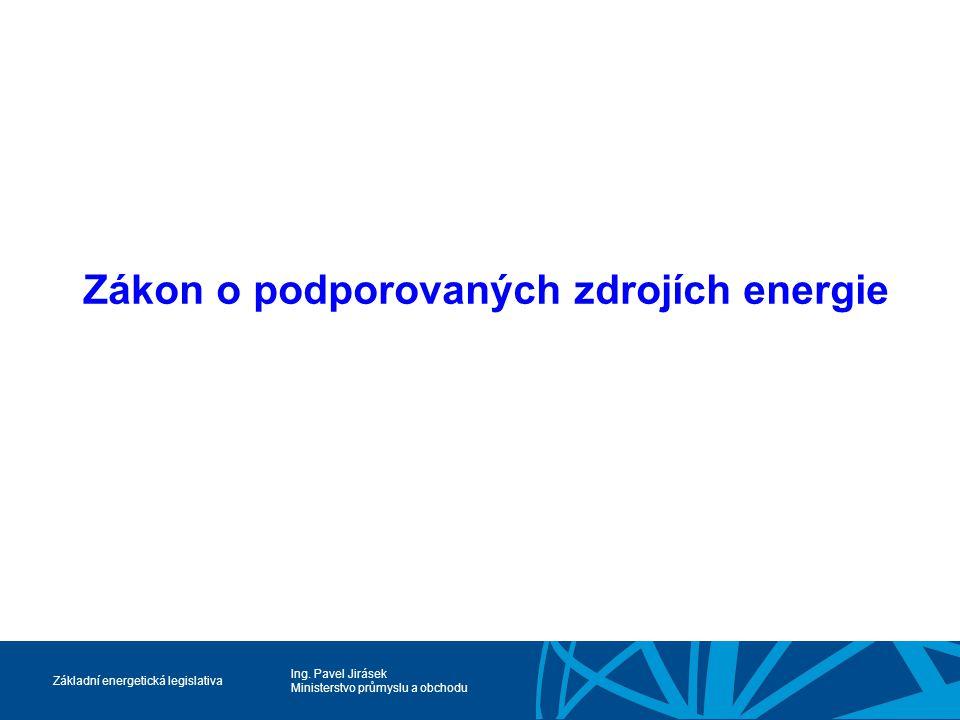 Ing. Pavel Jirásek Ministerstvo průmyslu a obchodu Základní energetická legislativa Zákon o podporovaných zdrojích energie