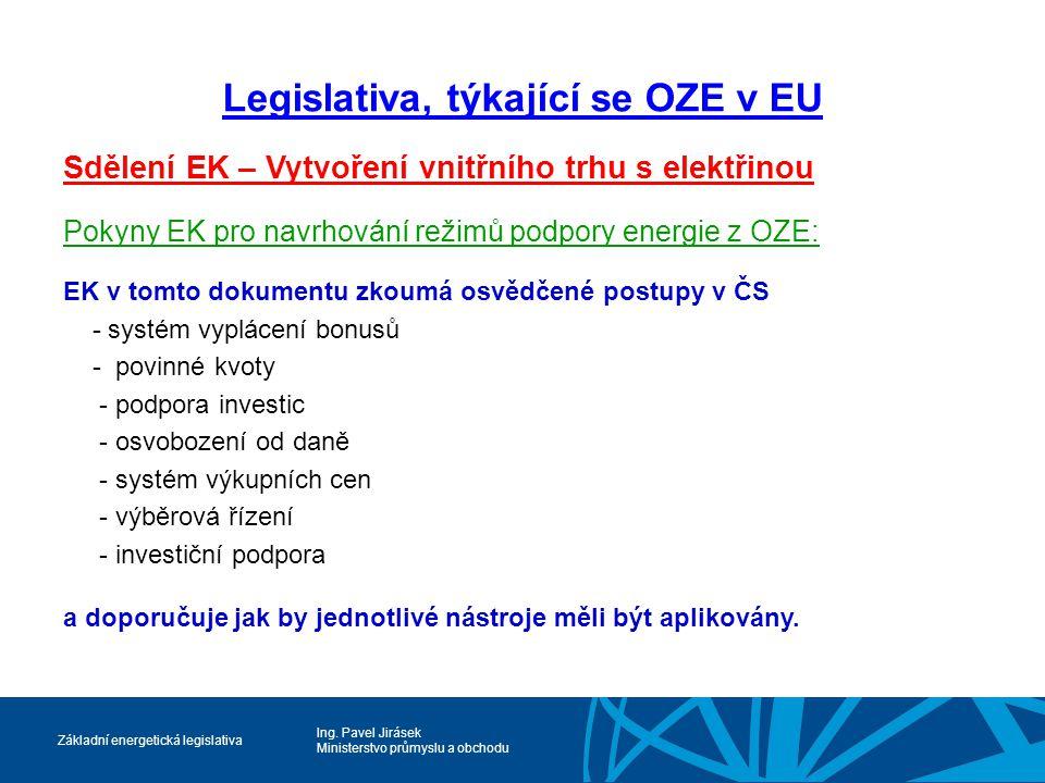 Ing. Pavel Jirásek Ministerstvo průmyslu a obchodu Základní energetická legislativa Legislativa, týkající se OZE v EU Sdělení EK – Vytvoření vnitřního