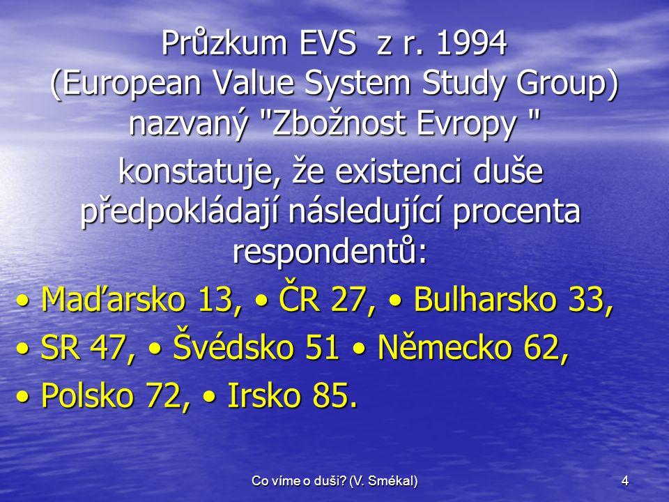 Co víme o duši? (V. Smékal)4 Průzkum EVS z r. 1994 (European Value System Study Group) nazvaný