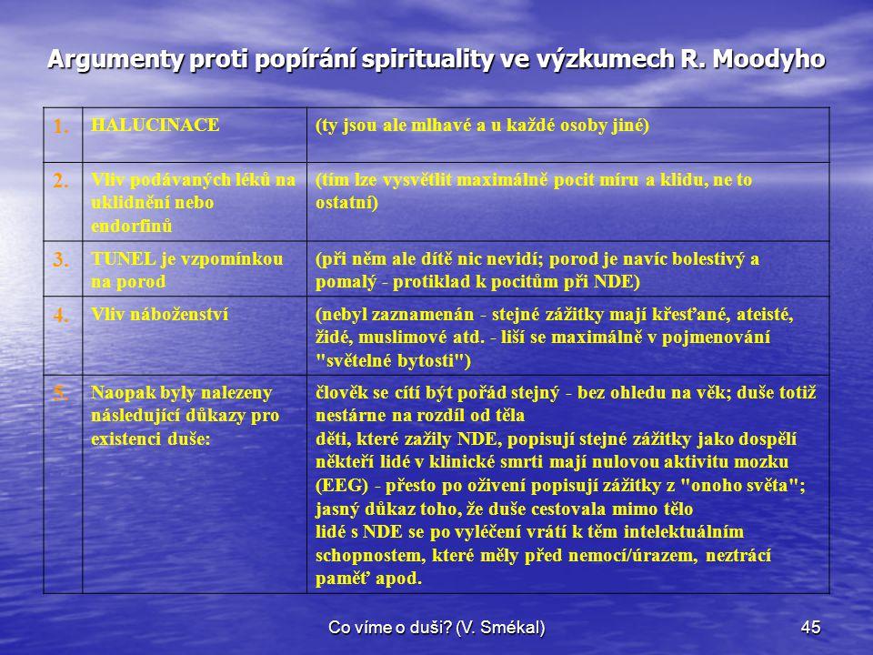 Co víme o duši? (V. Smékal)45 Argumenty proti popírání spirituality ve výzkumech R. Moodyho 1. HALUCINACE(ty jsou ale mlhavé a u každé osoby jiné) 2.