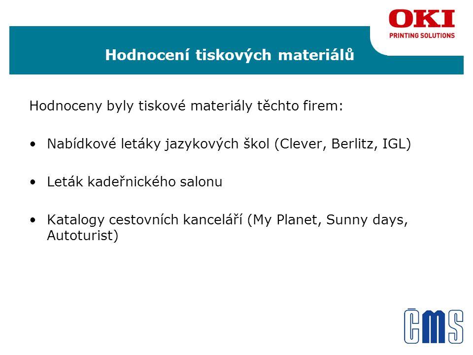 Hodnocení tiskových materiálů Hodnoceny byly tiskové materiály těchto firem: •Nabídkové letáky jazykových škol (Clever, Berlitz, IGL) •Leták kadeřnického salonu •Katalogy cestovních kanceláří (My Planet, Sunny days, Autoturist)