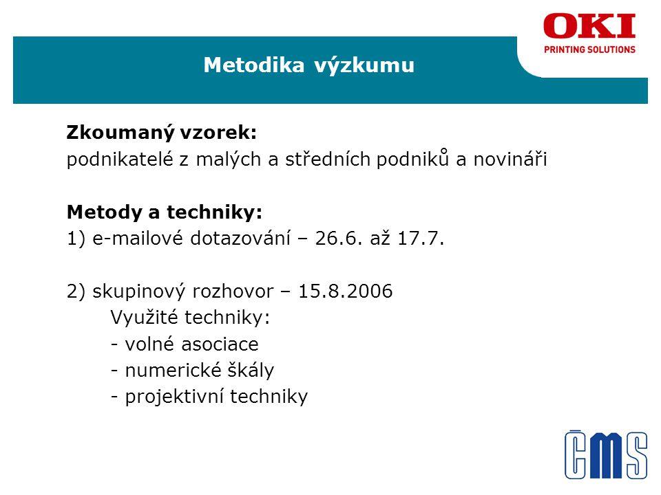 Metodika výzkumu Zkoumaný vzorek: podnikatelé z malých a středních podniků a novináři Metody a techniky: 1) e-mailové dotazování – 26.6.