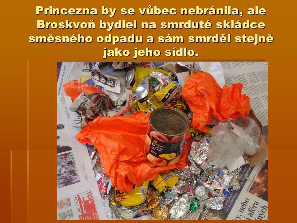 Princezna by se vůbec nebránila, ale Broskvoň bydlel na smrduté skládce směsného odpadu a sám smrděl stejně jako jeho sídlo.