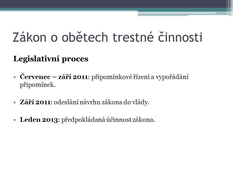 Zákon o obětech trestné činnosti Legislativní proces •Červenec – září 2011: připomínkové řízení a vypořádání připomínek.