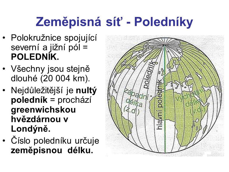 •Polokružnice spojující severní a jižní pól = POLEDNÍK.