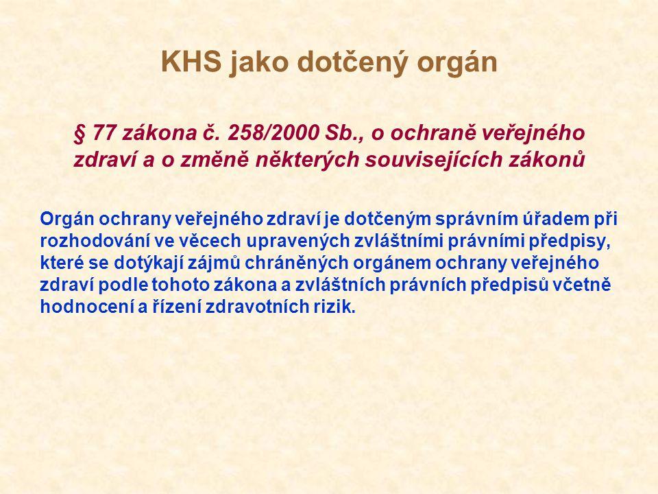 KHS jako dotčený orgán Orgán ochrany veřejného zdraví vydává v těchto věcech stanovisko.