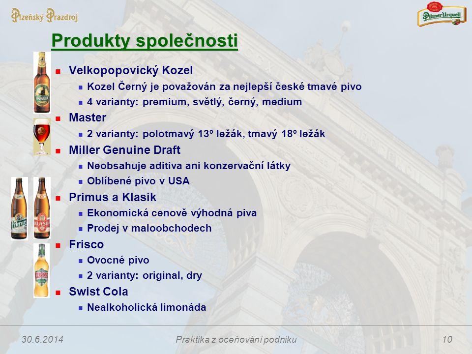 30.6.2014Praktika z oceňování podniku10 Produkty společnosti  Velkopopovický Kozel  Kozel Černý je považován za nejlepší české tmavé pivo  4 varian
