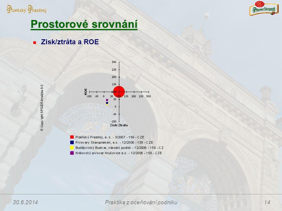 30.6.2014Praktika z oceňování podniku14 Prostorové srovnání  Zisk/ztráta a ROE
