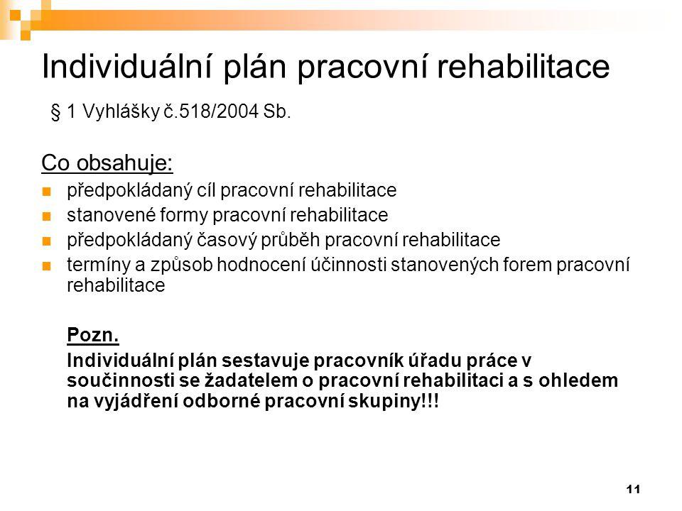 11 Individuální plán pracovní rehabilitace § 1 Vyhlášky č.518/2004 Sb. Co obsahuje:  předpokládaný cíl pracovní rehabilitace  stanovené formy pracov