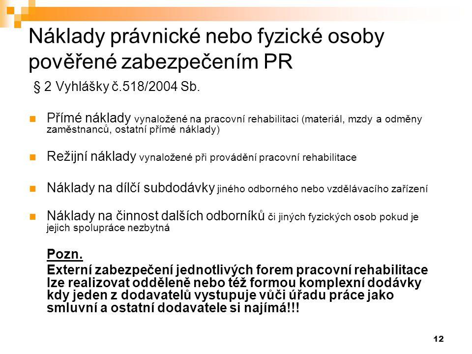 12 Náklady právnické nebo fyzické osoby pověřené zabezpečením PR § 2 Vyhlášky č.518/2004 Sb.  Přímé náklady vynaložené na pracovní rehabilitaci (mate
