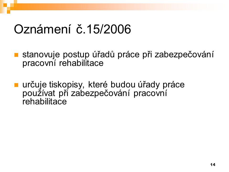14 Oznámení č.15/2006  stanovuje postup úřadů práce při zabezpečování pracovní rehabilitace  určuje tiskopisy, které budou úřady práce používat při